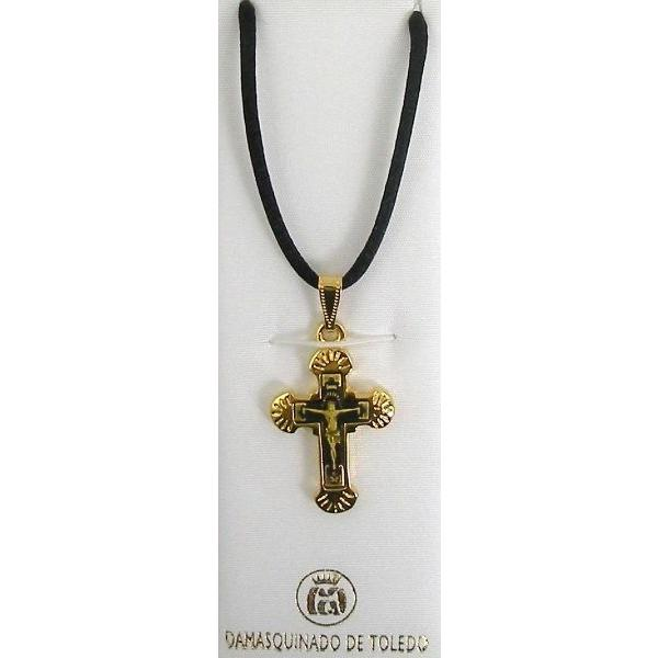 Damascene Gold Cross Jesus Pendant on Black Cord Necklace by Midas of Toledo Spain style 8241