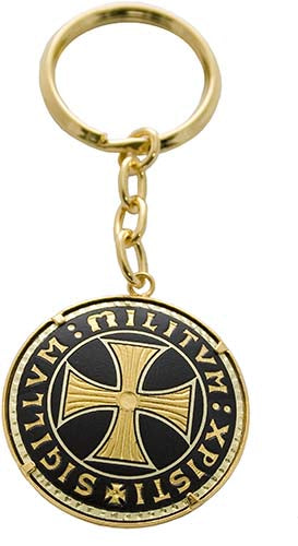 Damascene Templar Cross Keychain by Marto of Toledo Spain