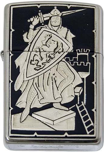 Damascene Zippo Lighter by Marto of Toledo Spain (Knight)