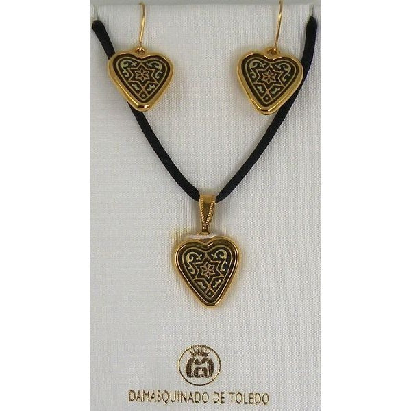 Damascene Gold Star of David Heart Pendant Necklace and Drop Earrings Set by Midas of Toledo Spain style 8405