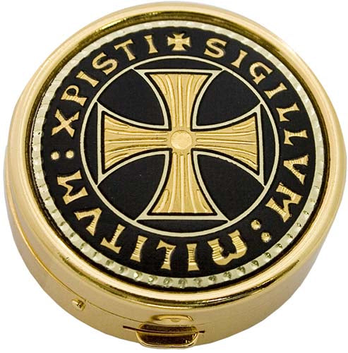 Damascene Templar Cross Pill Box by Marto of Toledo Spain