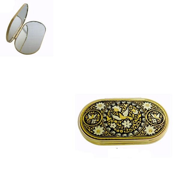 Damascene Gold Oval Bird Compact Mirror by Midas of Toledo Spain style 8553-2