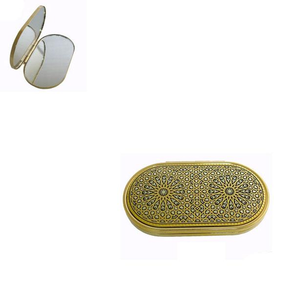 Damascene Gold Oval Geometric Compact Mirror by Midas of Toledo Spain style 8553-3