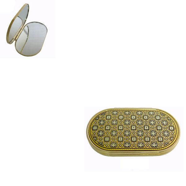 Damascene Gold Oval Geometric Compact Mirror by Midas of Toledo Spain style 8553-4
