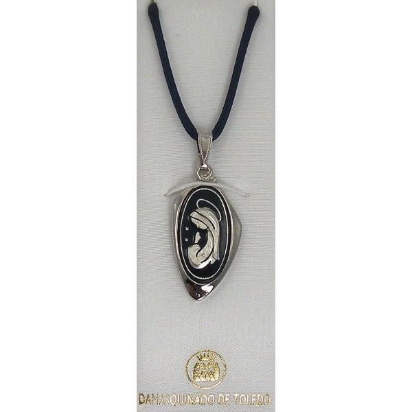 Damascene Silver Virgin Mary Oval Pendant on Cord Necklace by Midas of Toledo Spain style 9219-1
