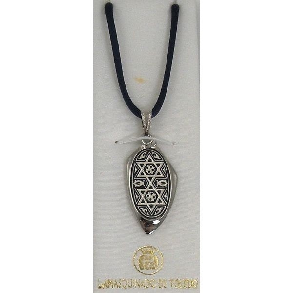 Damascene Silver Star of David Oval Pendant on Cord Necklace by Midas of Toledo Spain style 9219