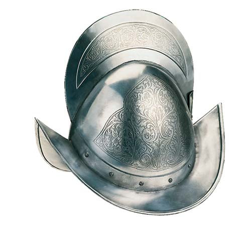 Engraved Spanish Round Morion Helmet by Marto of Toledo Spain
