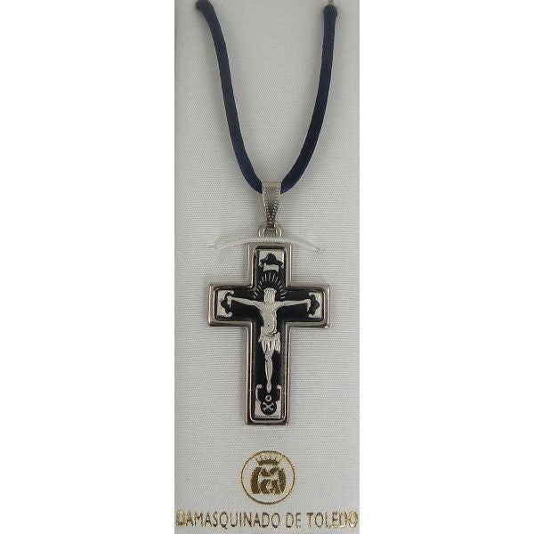 Damascene Silver Cross Jesus Pendant on Navy Cord Necklace by Midas of Toledo Spain style 9230