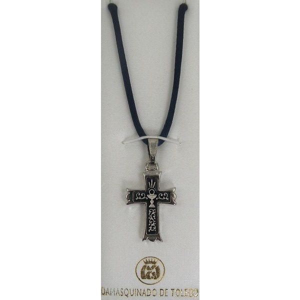 Damascene Silver Cross Chalice Pendant on Navy Cord Necklace by Midas of Toledo Spain style 9239