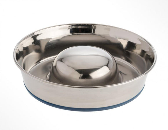 OurPets Premium Rubber-Bonded Stainless Steel Slow Feed Bowl