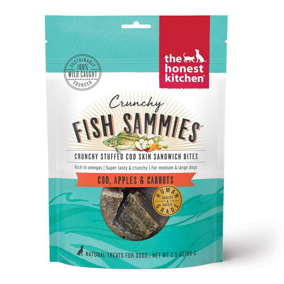 The Honest Kitchen Crunchy Fish Sammies Cod Stuffed with Carrots & Apples Natural Dog Treats