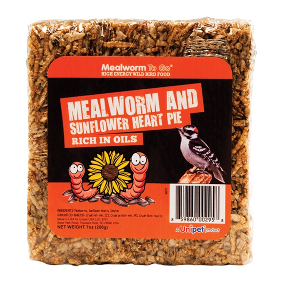 UNIPET MEALWORM TO GO MEALWORM AND SUNFLOWER HEART PIE
