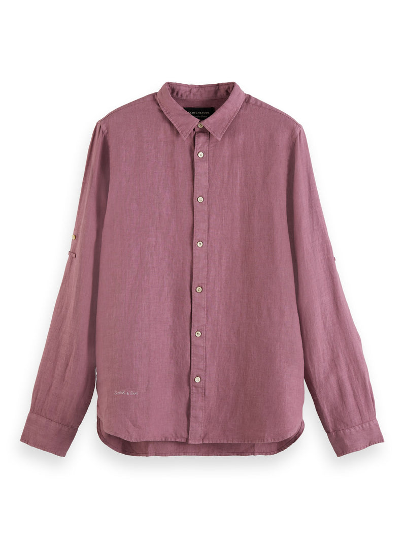REGULAR FIT- Garment-dyed linen shirt with sleeve roll-up