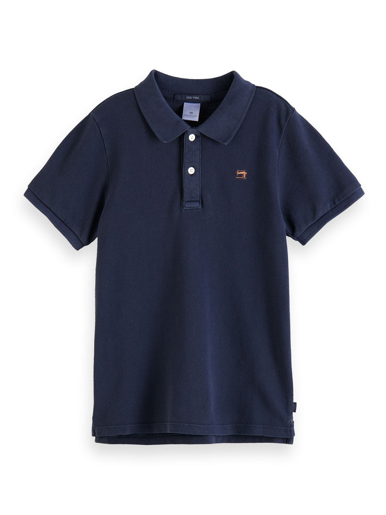 Garment dyed short sleeve polo