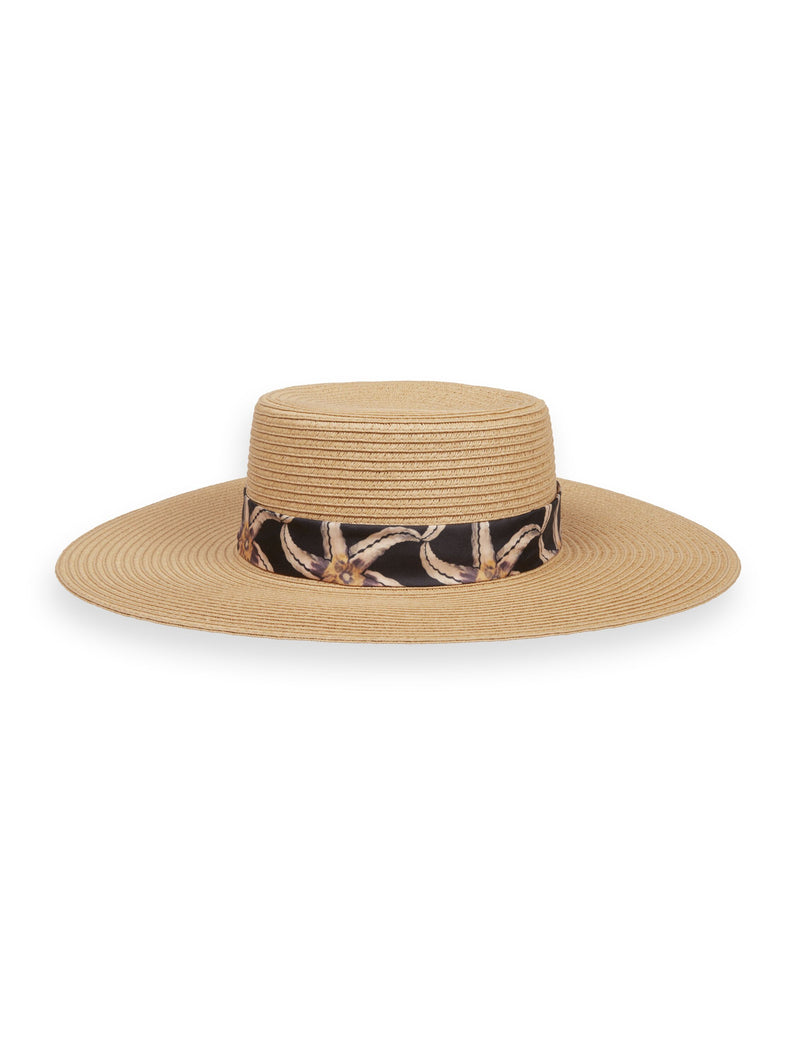 Paper straw hat with printed tape