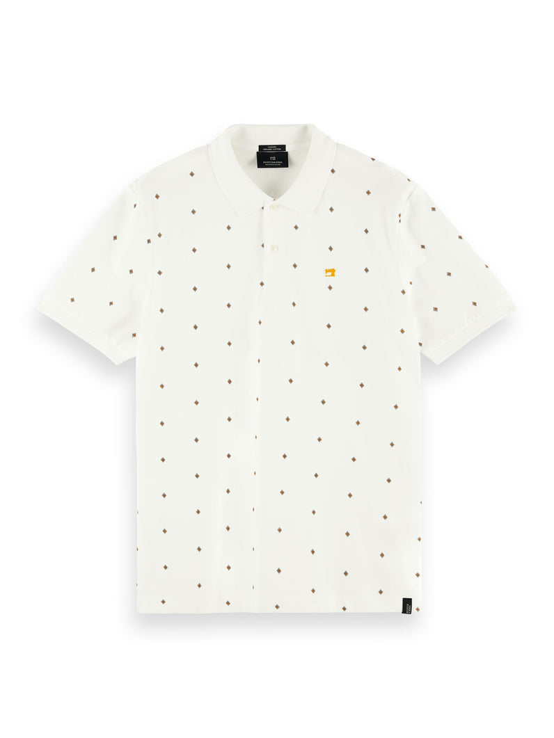 Classic all-over printed organic cotton pique polo