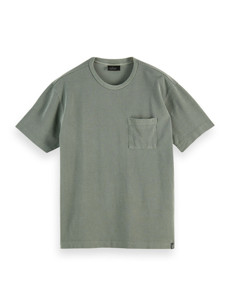 Organic cotton garment-dyed pique crewneck t-shirt Army