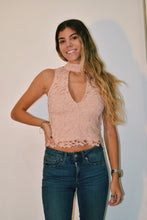 Load image into Gallery viewer, High Neck Lace Crop Top