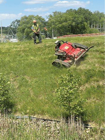 Greenspace Associates with RC Mowers remote-operated steep hill mower for mowing ponds and steep banks