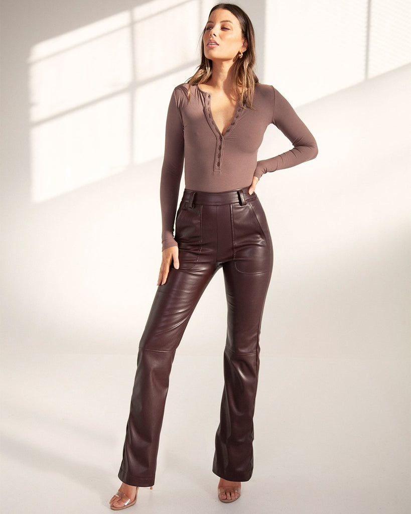 Long Sleeve Crew Neck Bodysuit Brown