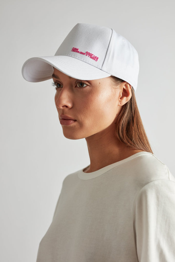 Denver Cap White with Fluro Pink