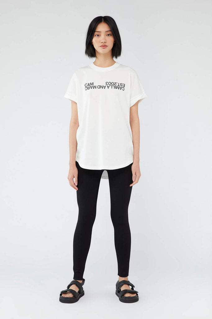 Huntington 2.0 Tee White w Black Logo
