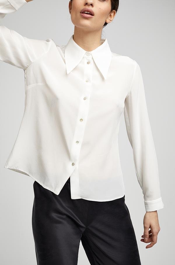 Sharp Collar Silk Shirt