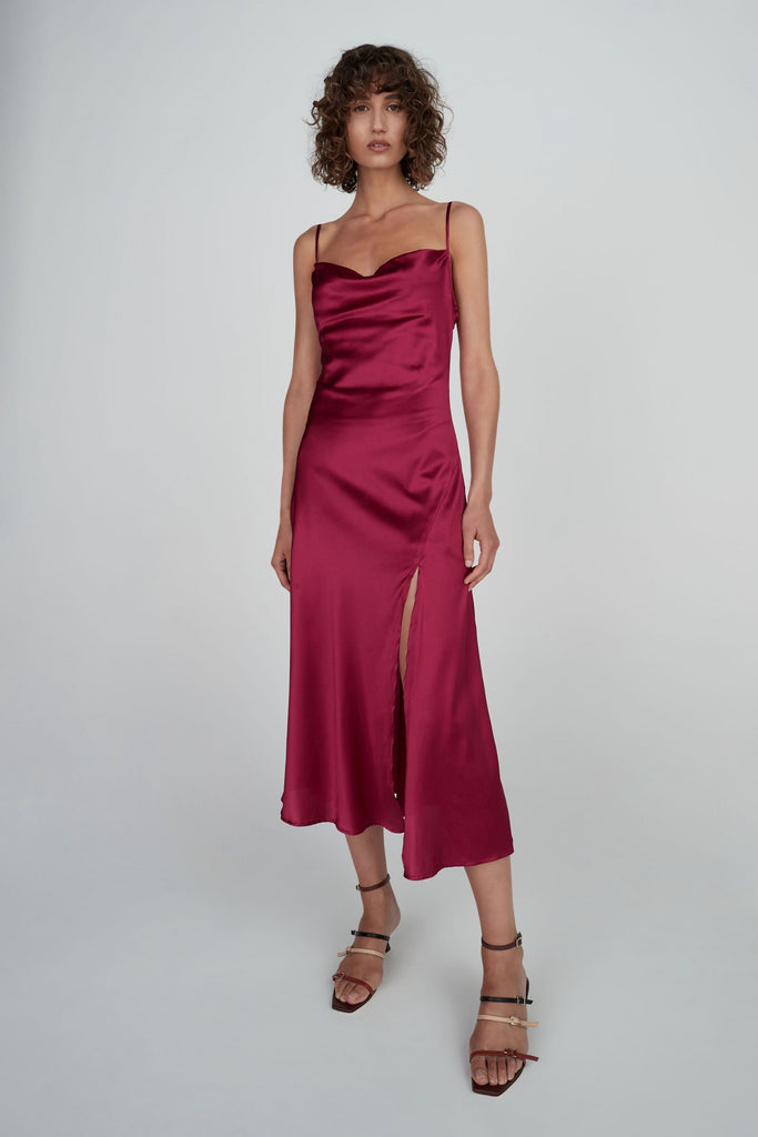 Zoe Silk Dress Boysenberry