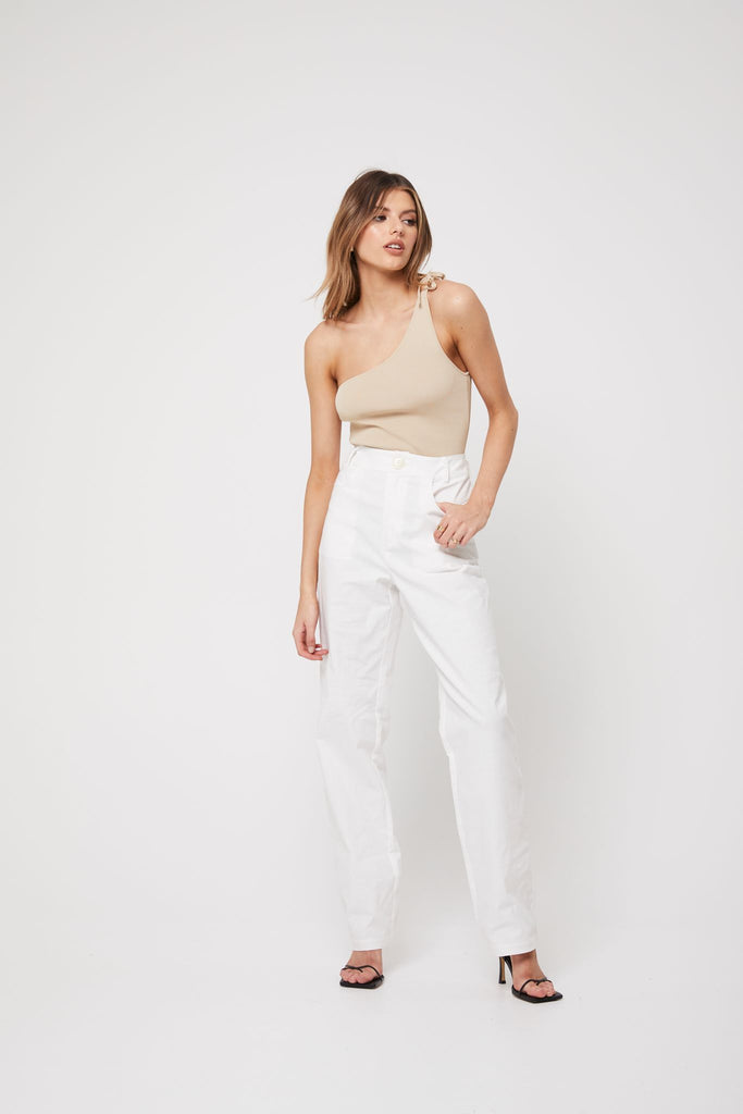 The One Shoulder Top Champagne