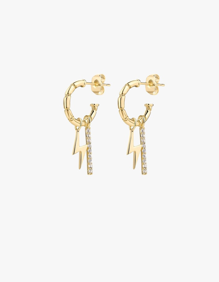 Bowie Charm Earrings 18k Gold Topaz