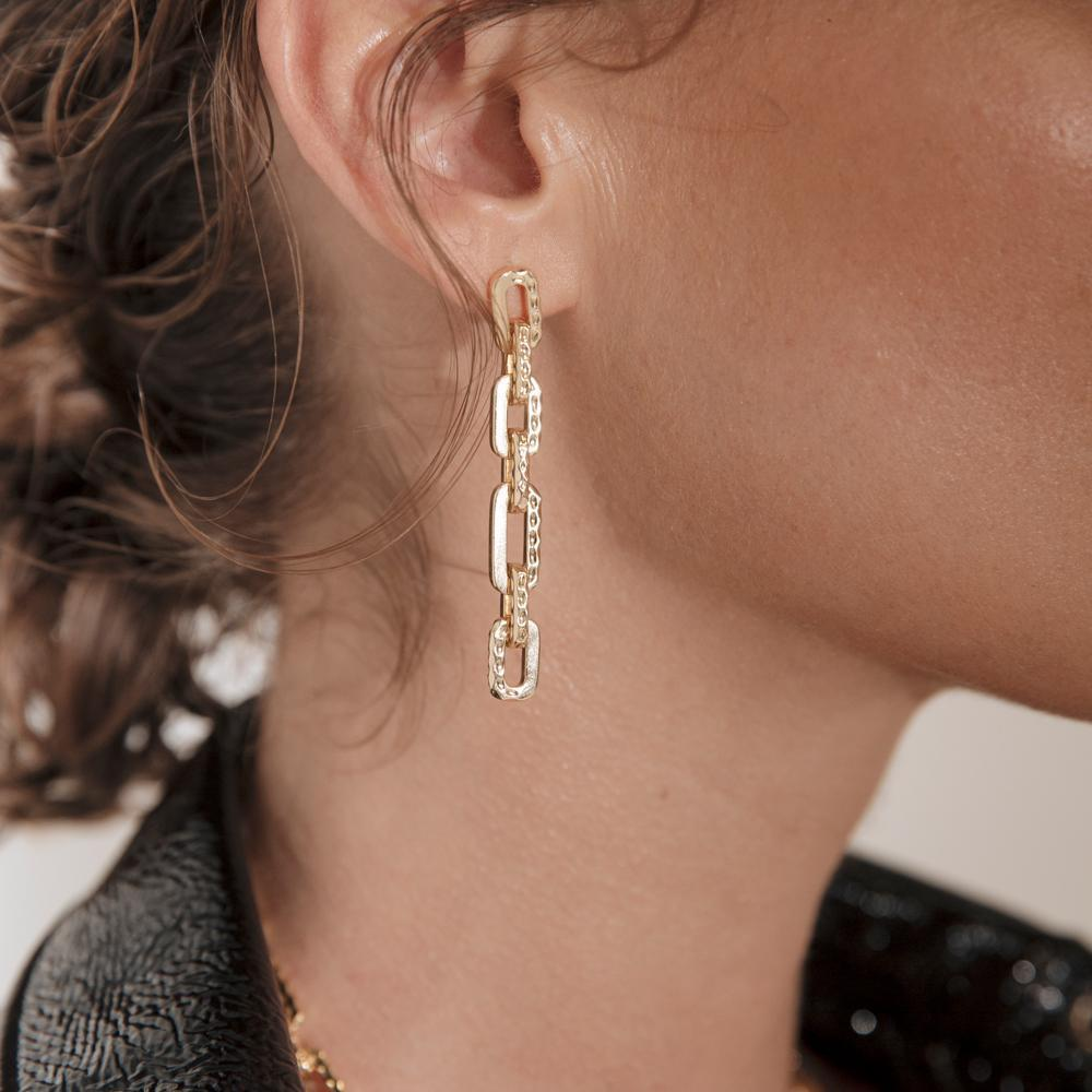 Stooges Hammered Chain Drop Earring 18k Gold