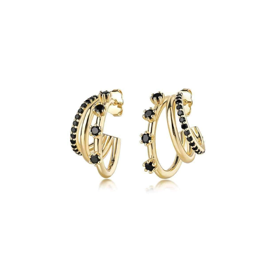 Triple Threat Gemstone Hoops Gold with Black Spinel