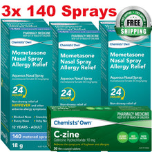 Load image into Gallery viewer, 3x Chemists's Own Mometasone Furoate Spray (Nasonex Generic Alternate) + C-Zine 30x Cetirizine 10mg (Zyrtec Generic Alternate)