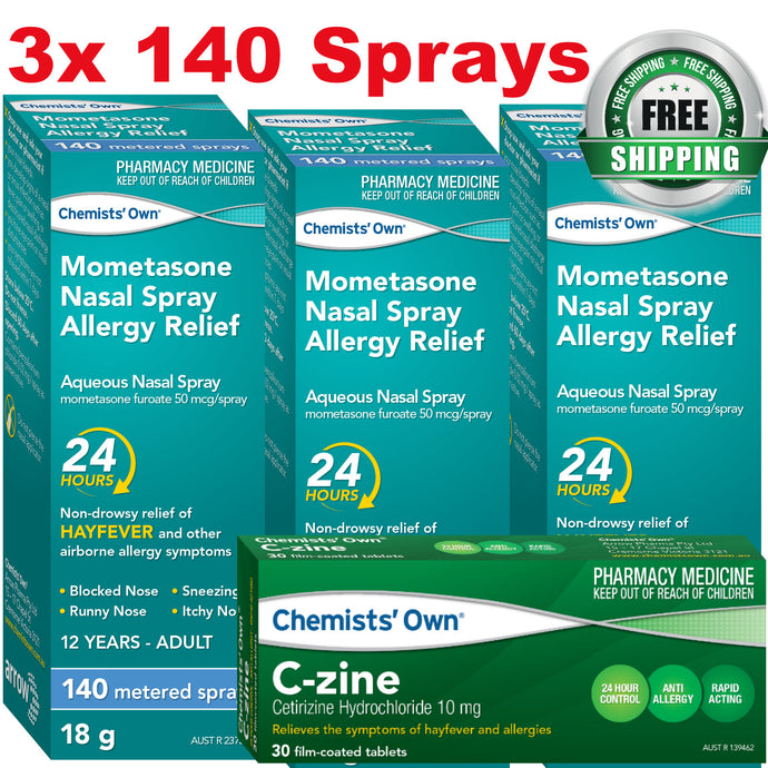 3x Chemists's Own Mometasone Furoate Spray (Nasonex Generic Alternate) + C-Zine 30x Cetirizine 10mg (Zyrtec Generic Alternate)
