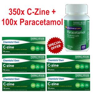 350x Chemists' Own C-Zine + 100x Pharmacy Care Paracetamol - EXPRESS POST -
