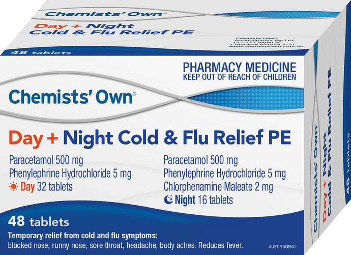 48 x CO Day + Night Cold & Flu Relief PE Tablets