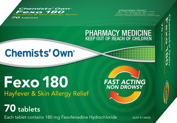 70 x Fexo 180 Chemists' Own - Fexofenadine 180mg