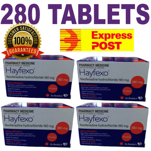 280 x HayFexo Fexofenadine Hydrochloride 180mg Tablets (Generic Telfast Alternative) +100 Bonus Paracetamol Tablets