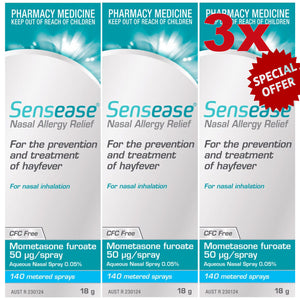 Nasonex Generic Alternative Bundle (3) = 3 x Sensease Allergy Relief 140 Sprays, Mometasone Furoate 50 Microgram/Spray + 50x Trust Fexit 180mg Tablets