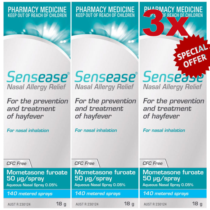 Nasonex Generic Alternative Bundle (2) = 3 x Sensease Allergy Relief 140 Sprays, Mometasone Furoate 50 Microgram/Spray + 30x Loratadine Tablets