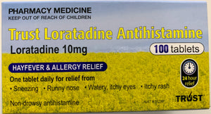 100 x Trust Loratadine, 10mg (GENERIC CLARATYNE ALTERNATE 10MG)