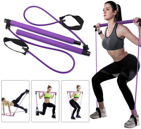 Pilates Bar Core System Portable Home Gym: Resistance Trainer All-in-One Band + Bar Kit, Full Body Workout: Improve Strength, Fitness, Build Muscle