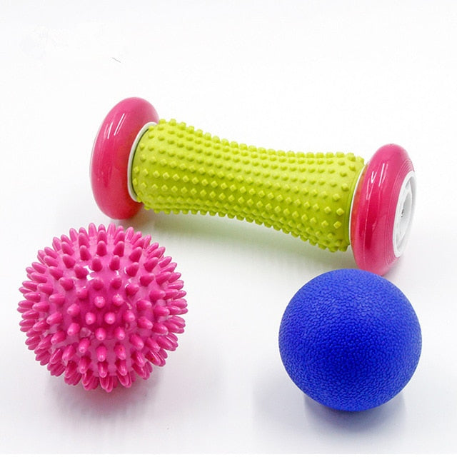 Reflexology Foot Roller w/ Spike Ball Massagers: Relieve Plantar Fasciitis+Deep Tissue Acupressure