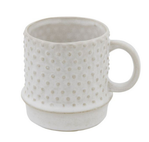 Stoneware Mug in White with Hobnail Pattern