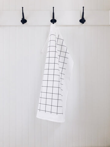 Grid black tea towel