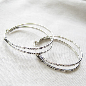 Stamped double Hoop earrings