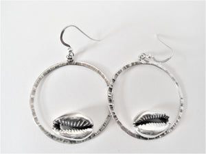 Cast Cowrie Circle Earrings