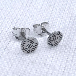 Noughts and dashes solid silver stamped studs