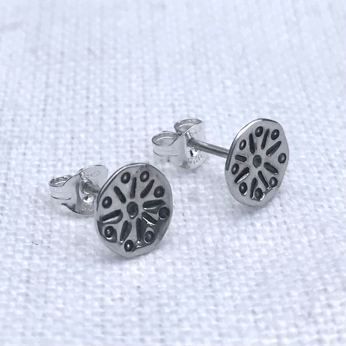 Stella solid silver stamped studs
