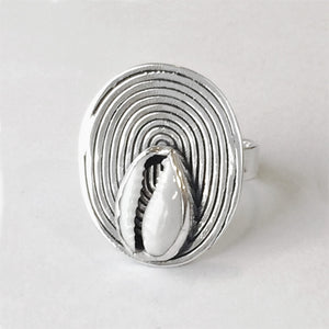 Set Cowrie Spiral Ring